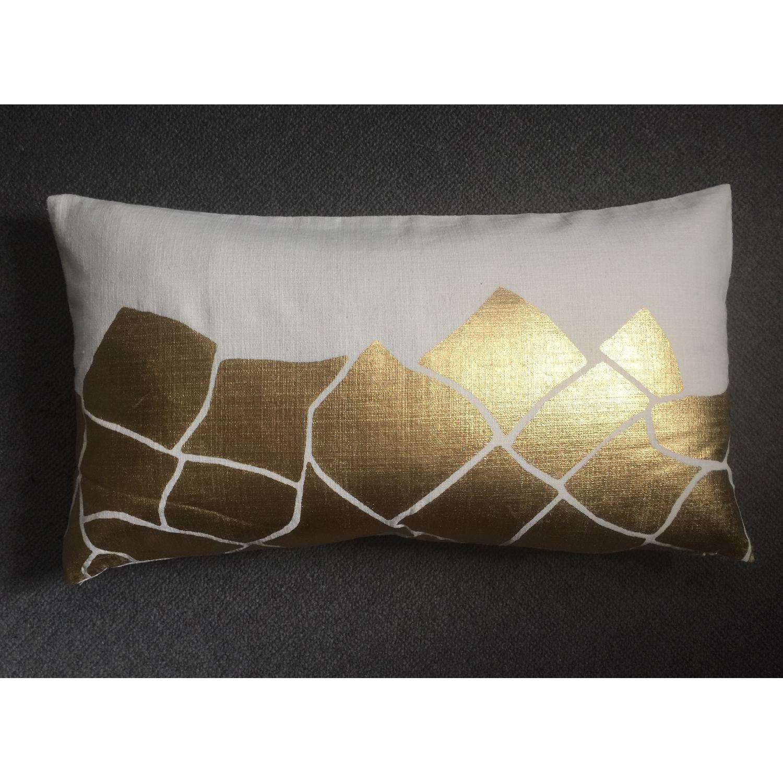 Cubist Gold Metallic Print Pillow - image-2