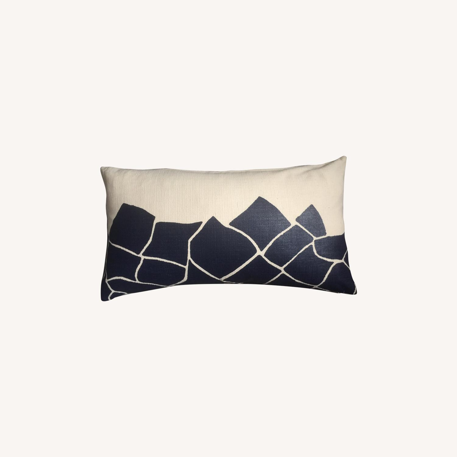Cubist Midnight Blue Printed Pillow