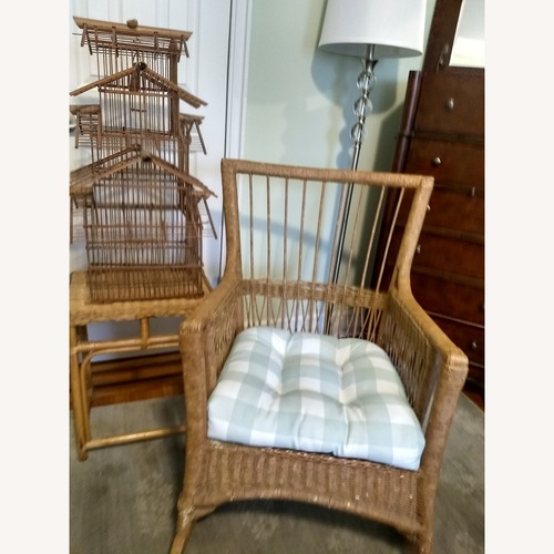 Used Antique Wicker Rocker Arm Chair for sale on AptDeco