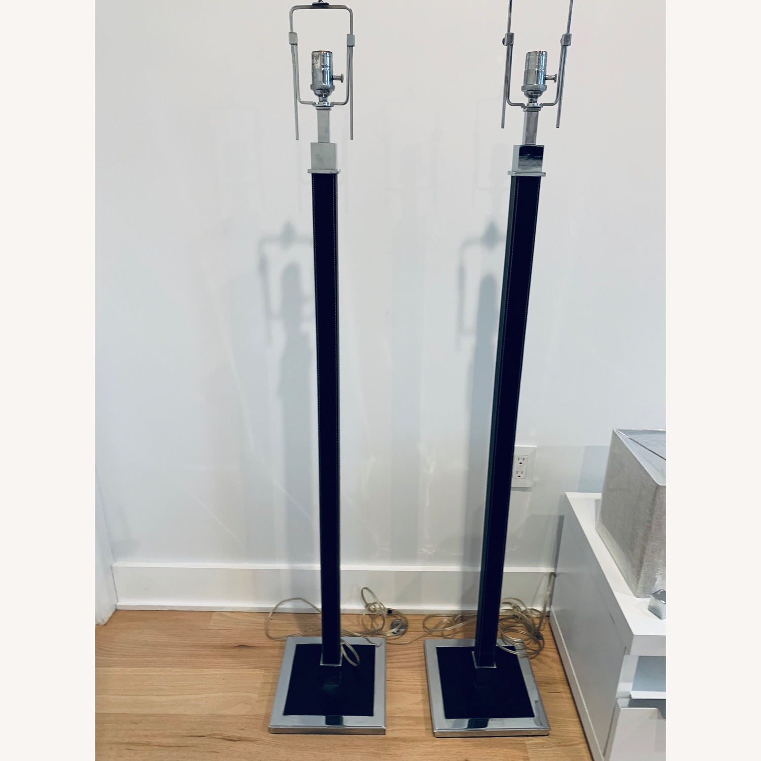 Ralph Lauren Home Leather & Chrome Floor Lamps - image-2