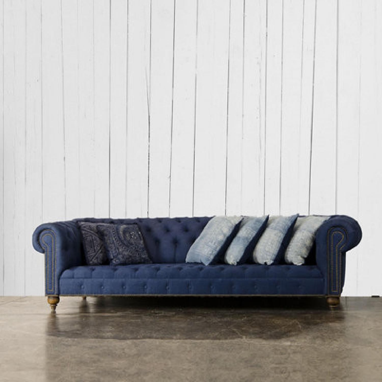 Ralph Lauren English Chesterfield Denim Sofa - image-7