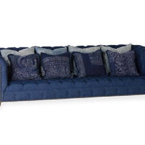 Used Ralph Lauren English Chesterfield Denim Sofa for sale on AptDeco