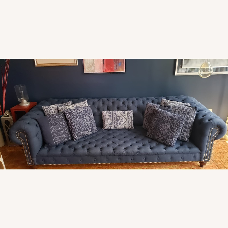 Ralph Lauren English Chesterfield Denim Sofa - image-1