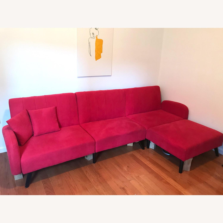 Casa Divina Red Reclining Sleeper Sectional Sofa