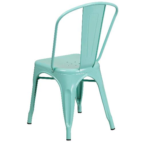 Used Flash Furniture Mint Green Metal Stacking Chairs for sale on AptDeco