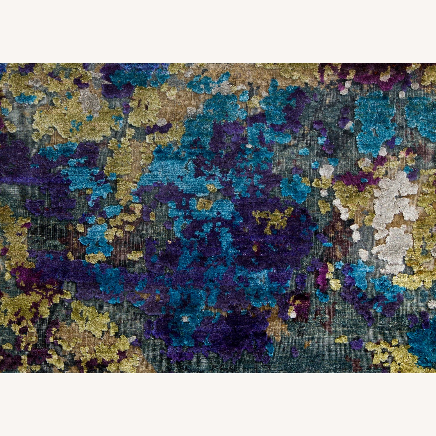 Hand-Knotted Wool & Silk Abstract Organic Woven Rug - image-6