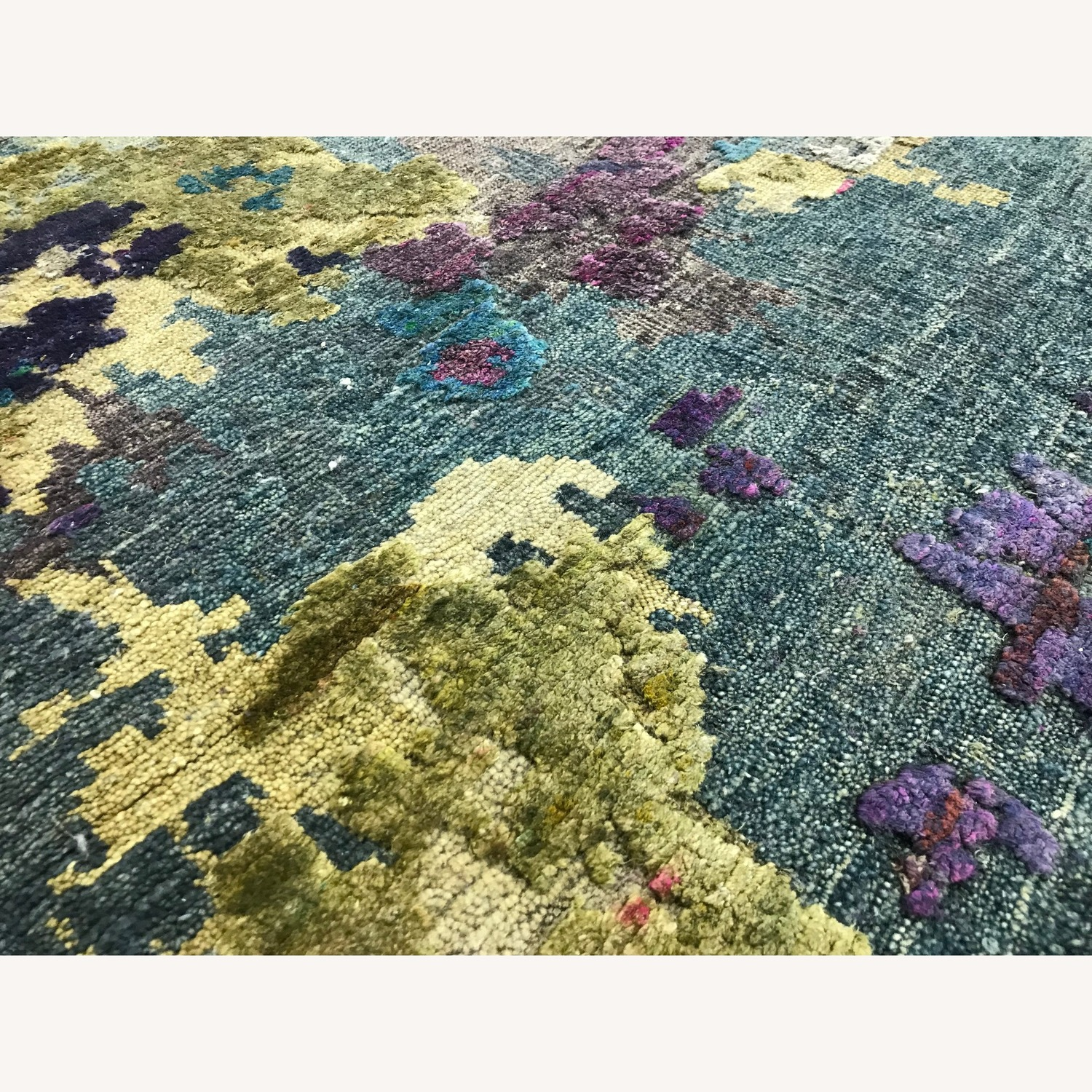 Hand-Knotted Wool & Silk Abstract Organic Woven Rug - image-2