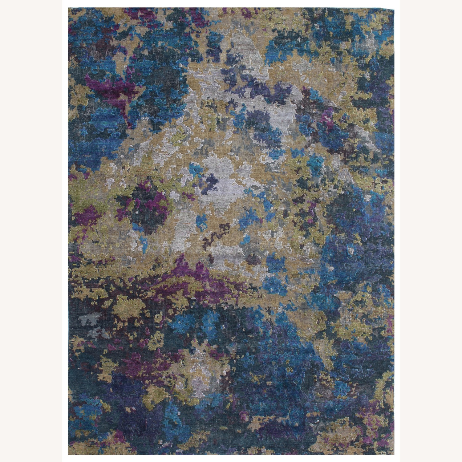 Hand-Knotted Wool & Silk Abstract Organic Woven Rug - image-0