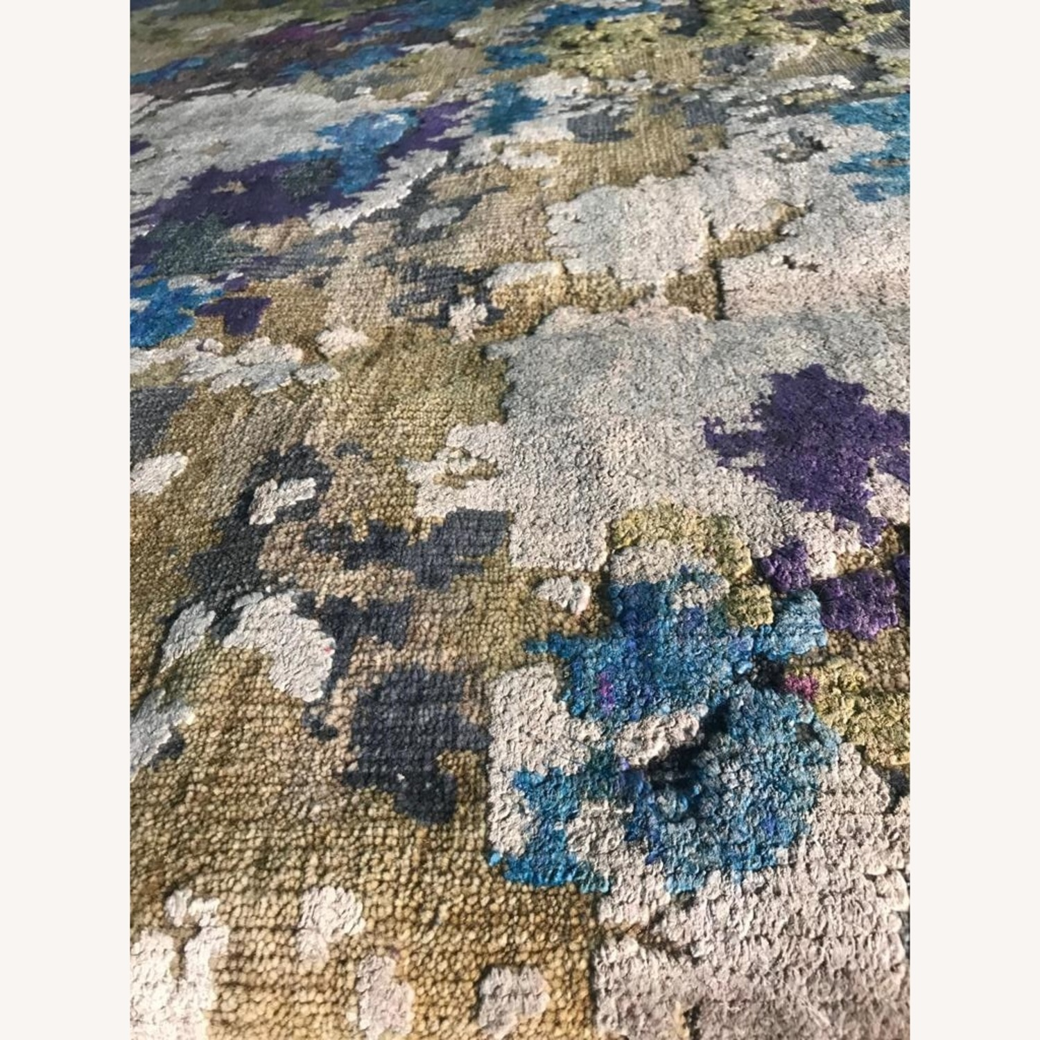 Hand-Knotted Wool & Silk Abstract Organic Woven Rug - image-1