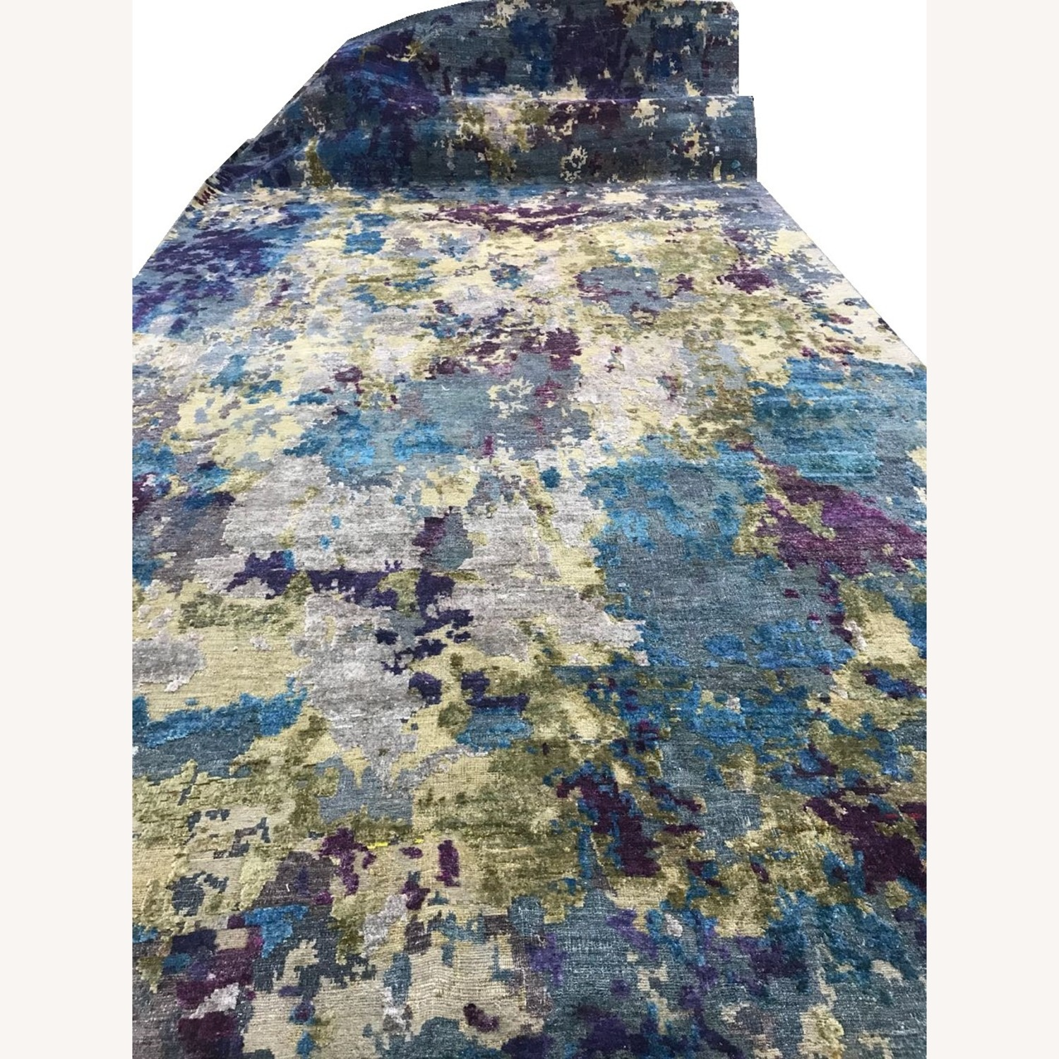 Hand-Knotted Wool & Silk Abstract Organic Woven Rug - image-4