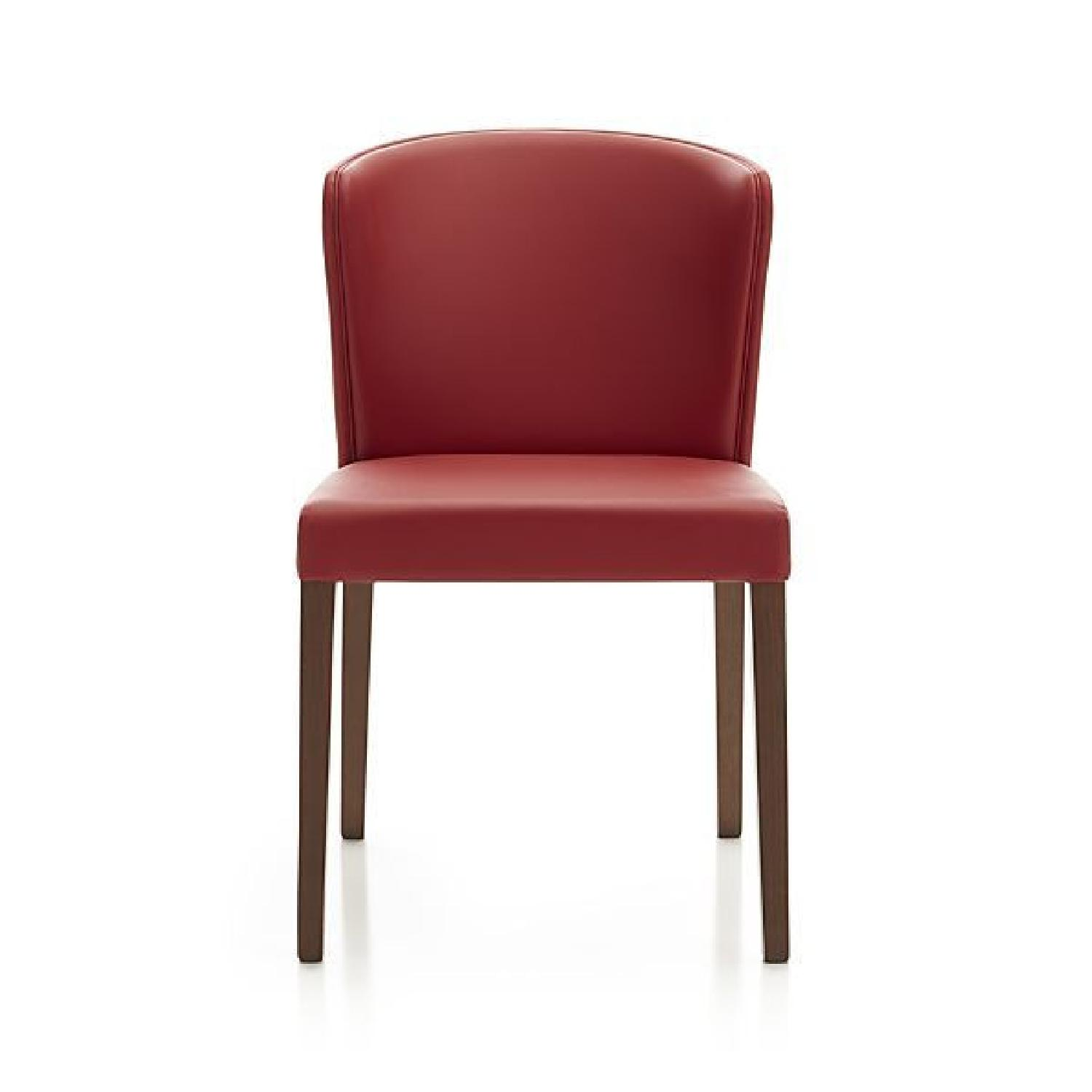 Crate & Barrel Curran Red Leather Dining Chair - image-0