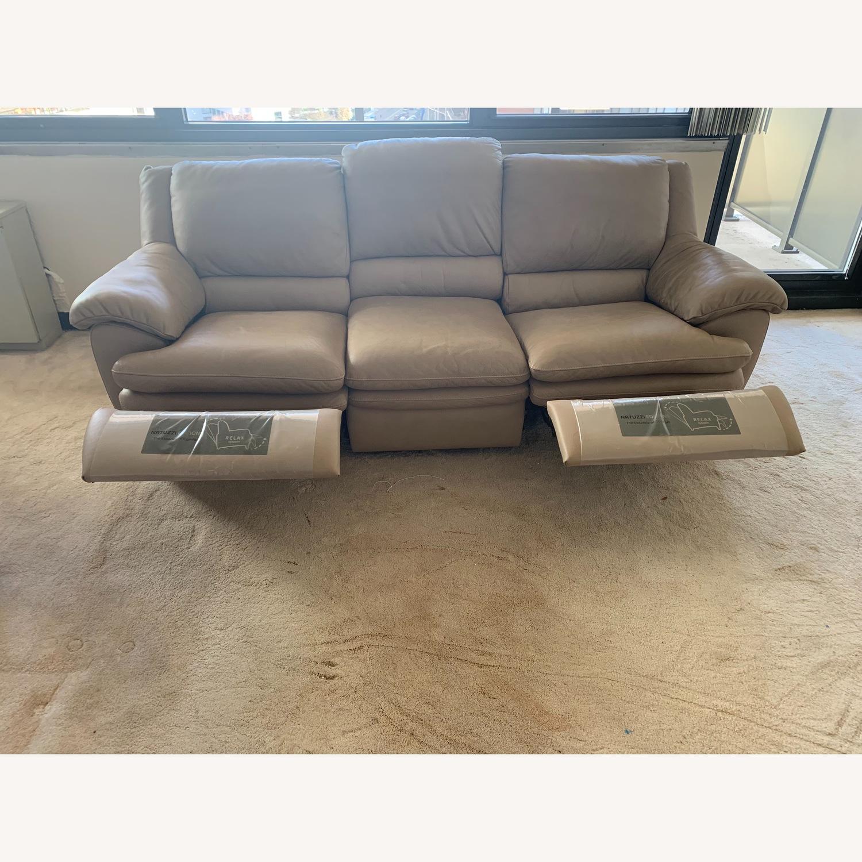 Natuzzi Leather Reclining 3-Seater Sofa - image-2
