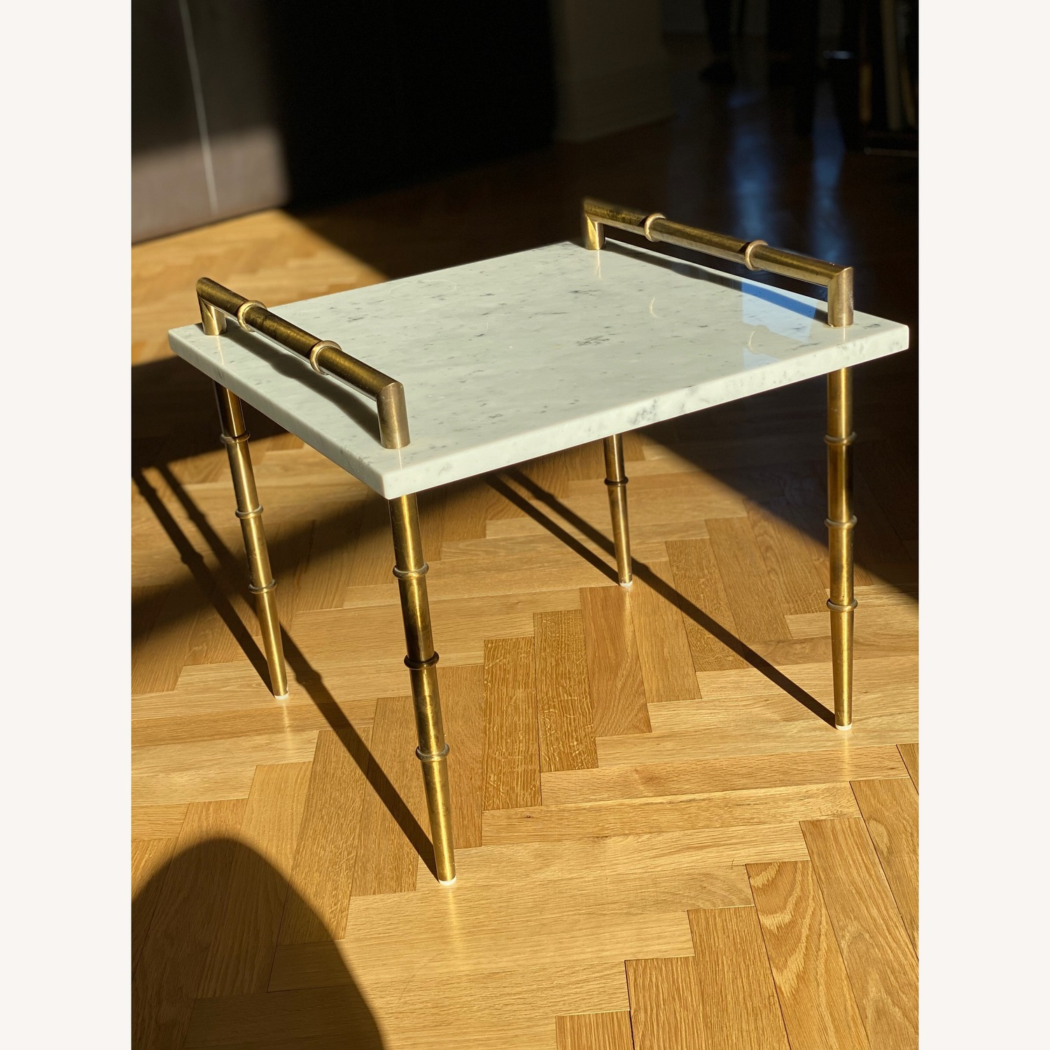 Vintage Art Deco Marble & Brass Side Table