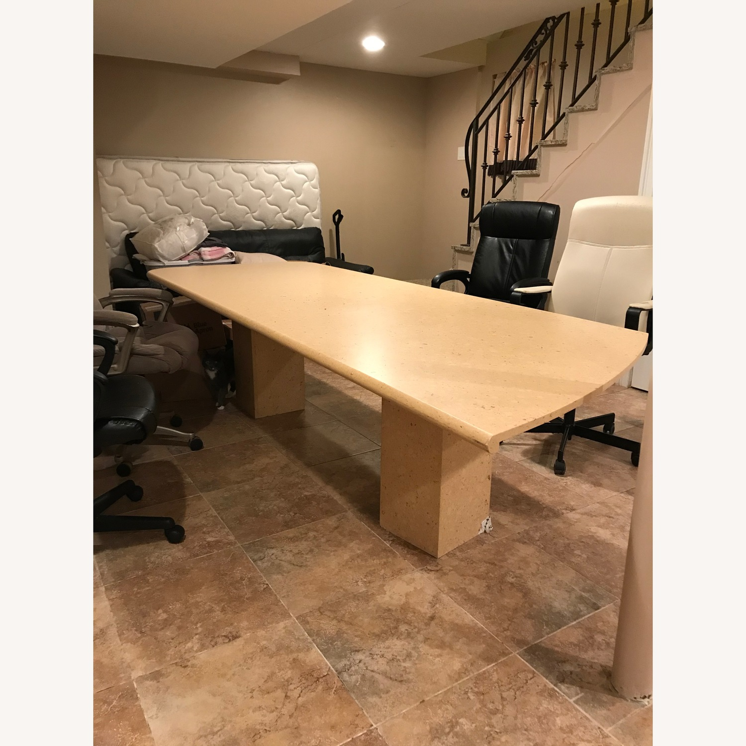 Natural Marble Dining/Conference Table - image-1