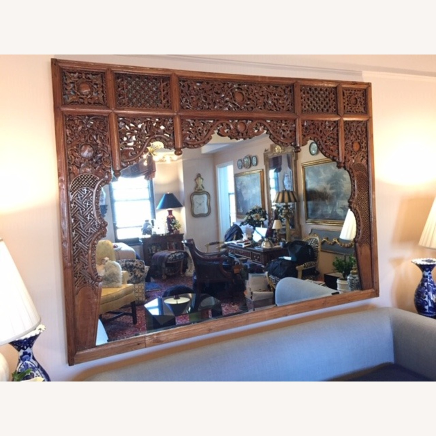 Antique Chinese Carved Wood Mirror