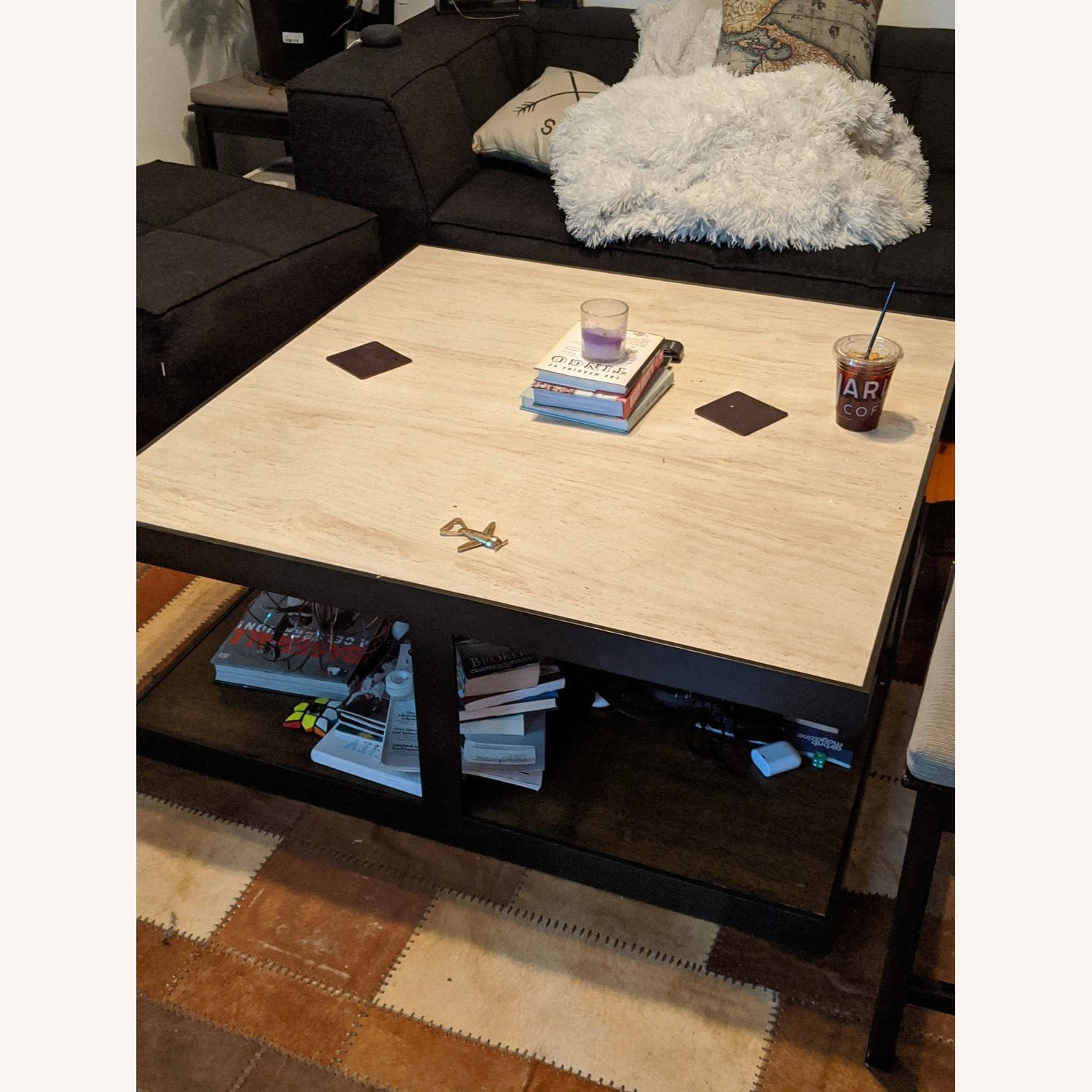 Marble & Wrought Iron Square Coffee Table - image-1