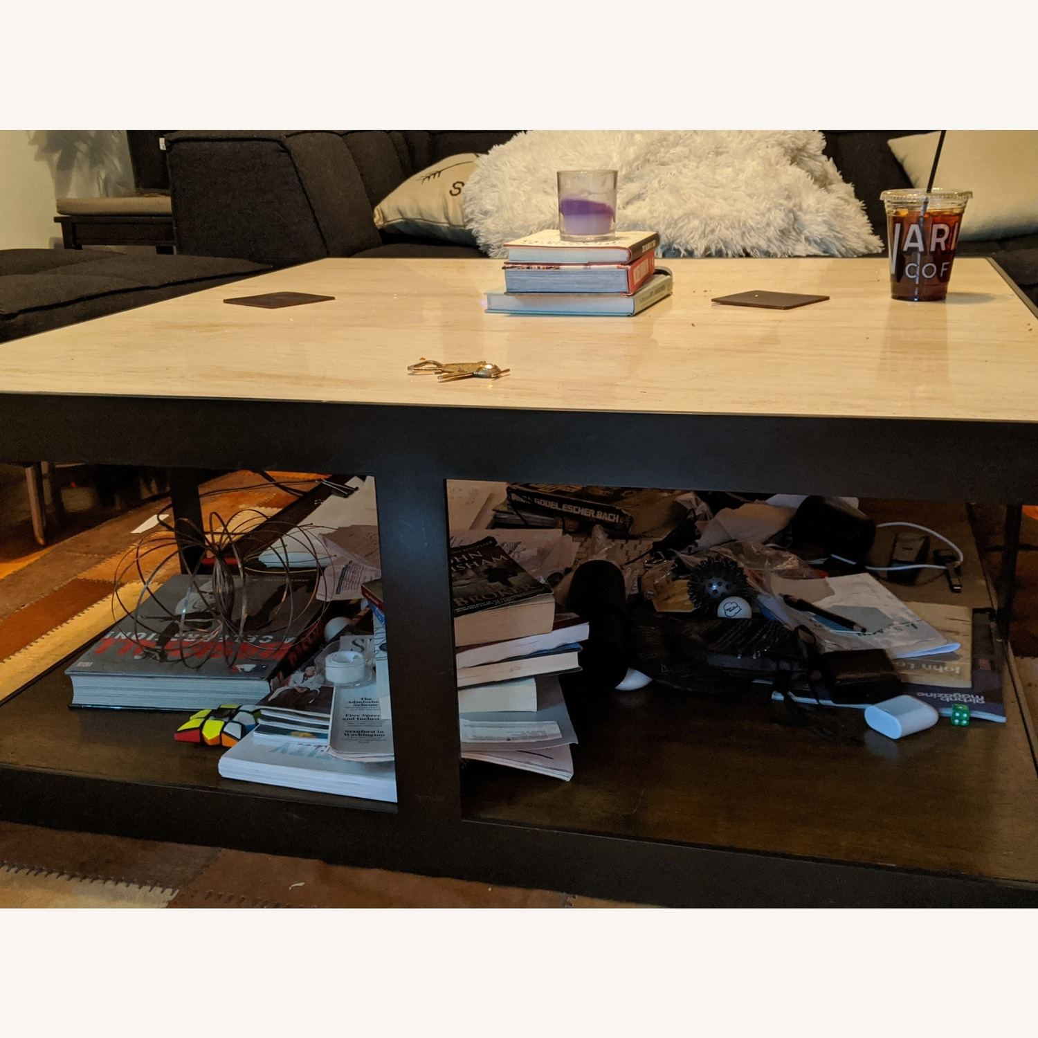 Marble & Wrought Iron Square Coffee Table - image-2