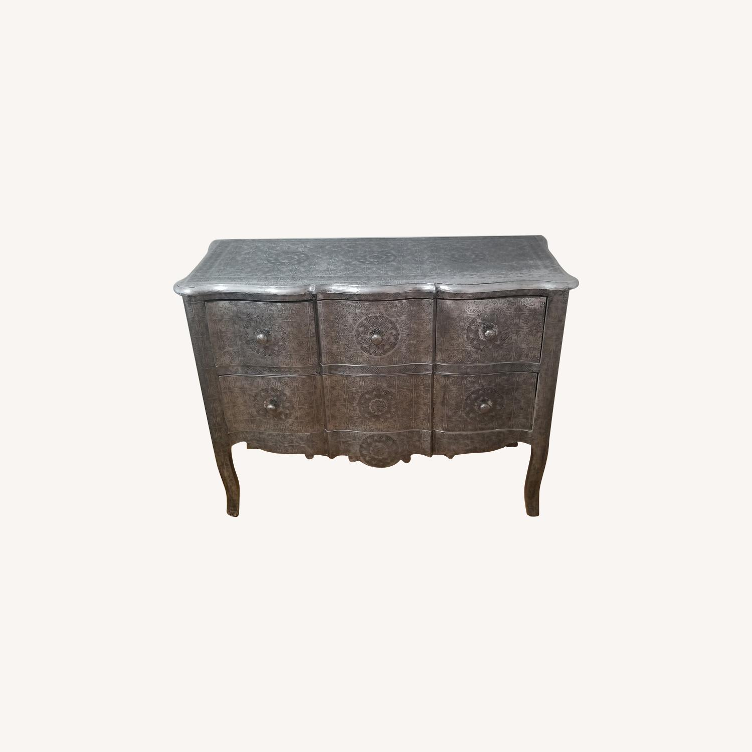 Wood & Metal Embossed Dresser - image-0