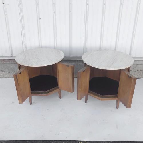 Thomasville Mid-Century Marble Top Nightstands