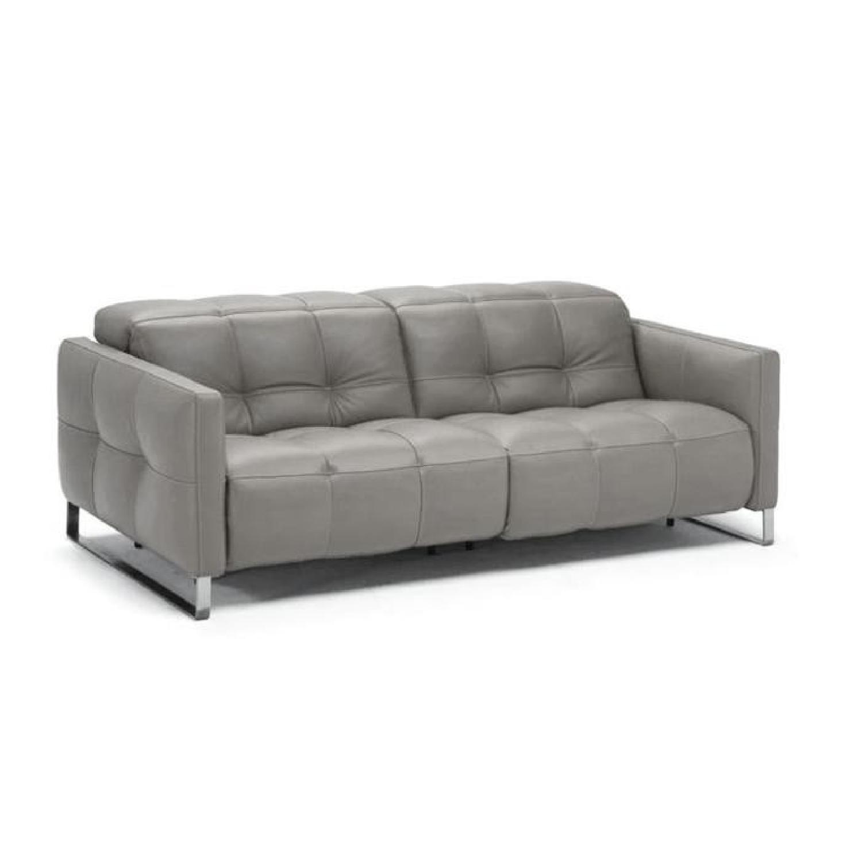 Natuzzi Philo Recliner Sofa in Grey Leather - image-0
