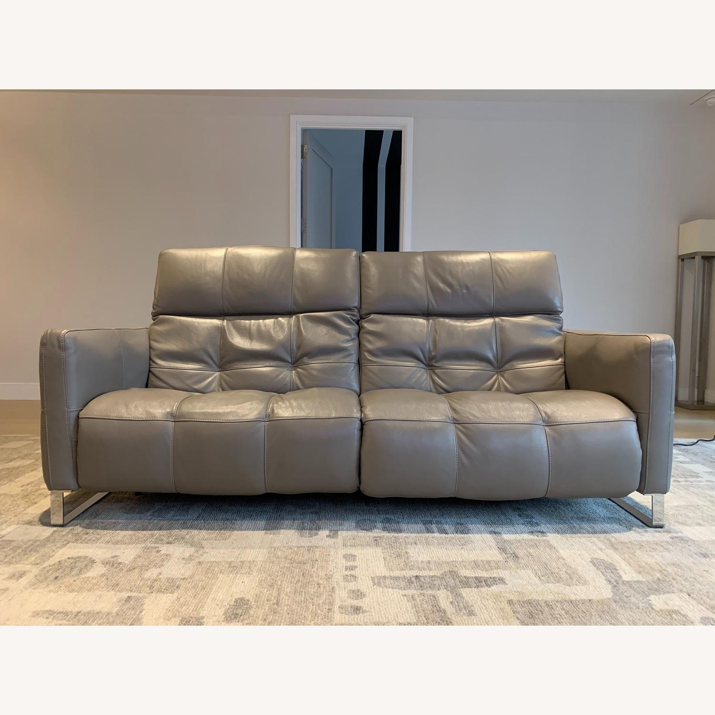 Natuzzi Philo Recliner Sofa in Grey Leather - image-8