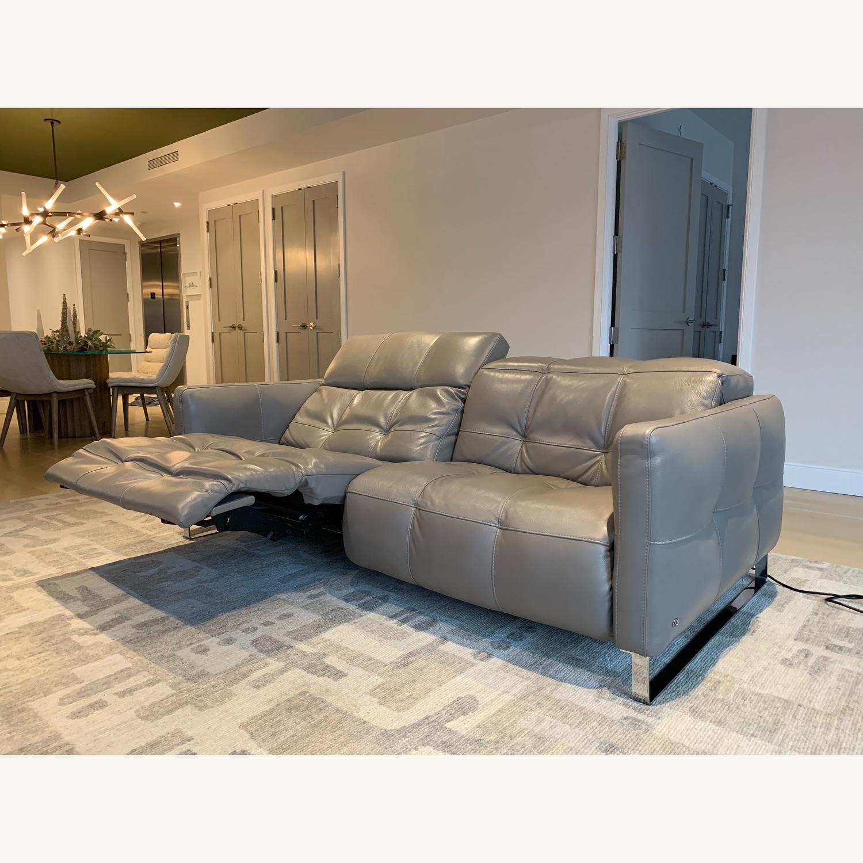 Natuzzi Philo Recliner Sofa in Grey Leather - image-5