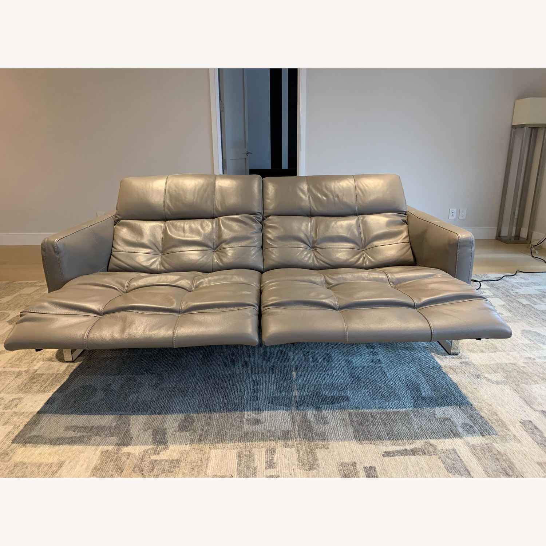 Natuzzi Philo Recliner Sofa in Grey Leather - image-3