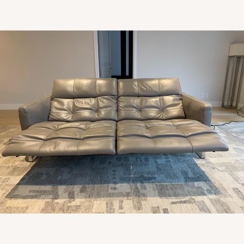 Natuzzi Philo Recliner Sofa in Grey Leather