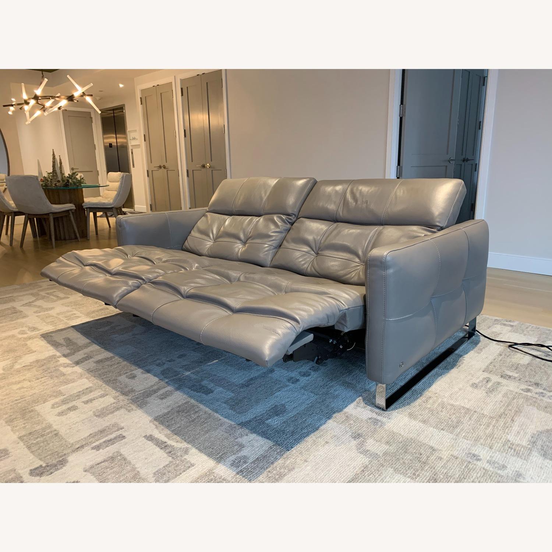 Natuzzi Philo Recliner Sofa in Grey Leather - image-6