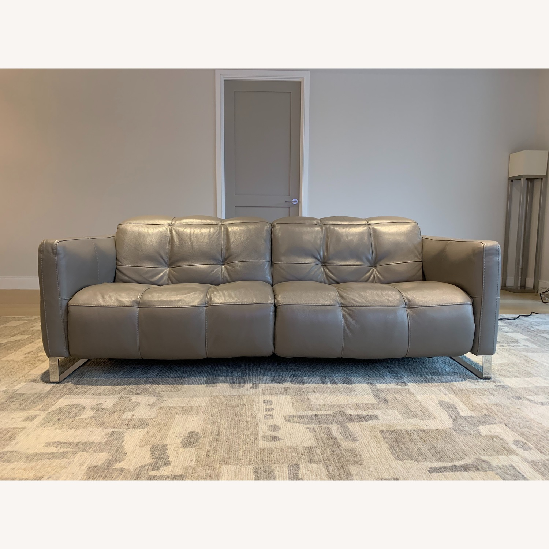 Natuzzi Philo Recliner Sofa in Grey Leather - image-1