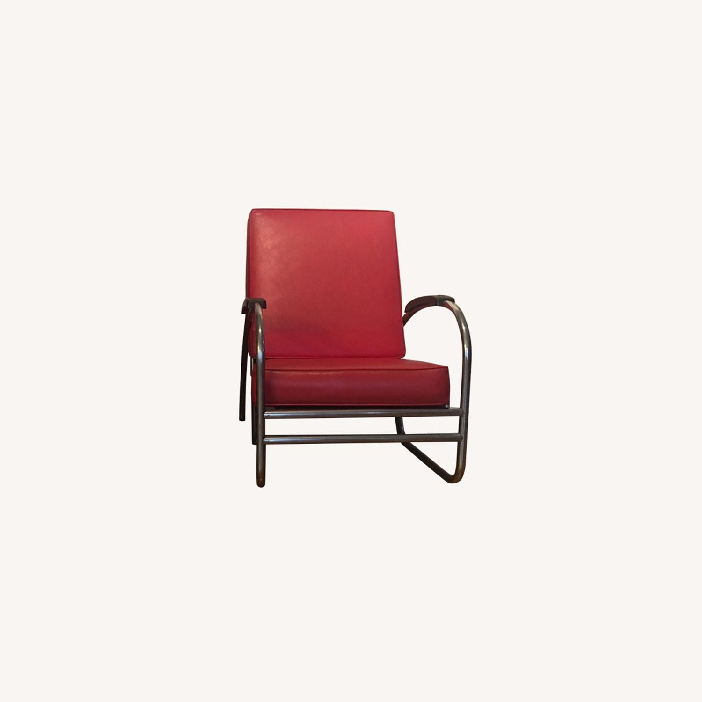Vintage 1930's Metal Tube Red Armchairs - image-0