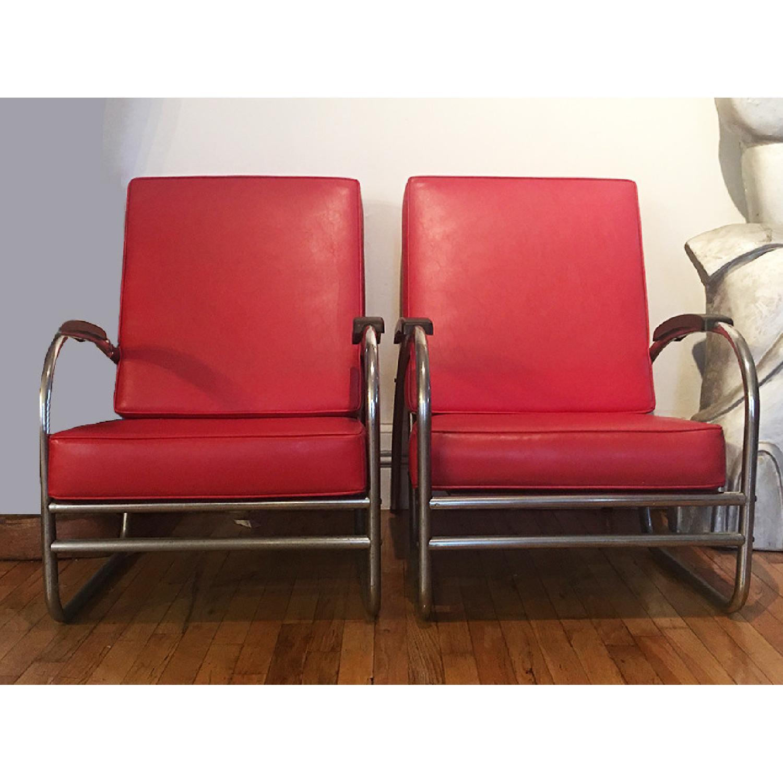 Vintage 1930's Metal Tube Red Armchairs - image-1