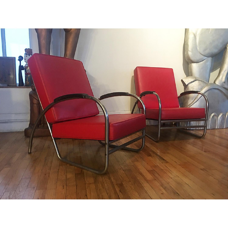 Vintage 1930's Metal Tube Red Armchairs - image-2