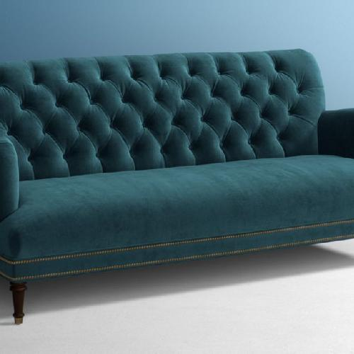 Anthropologie Light Blue Velvet Sofa