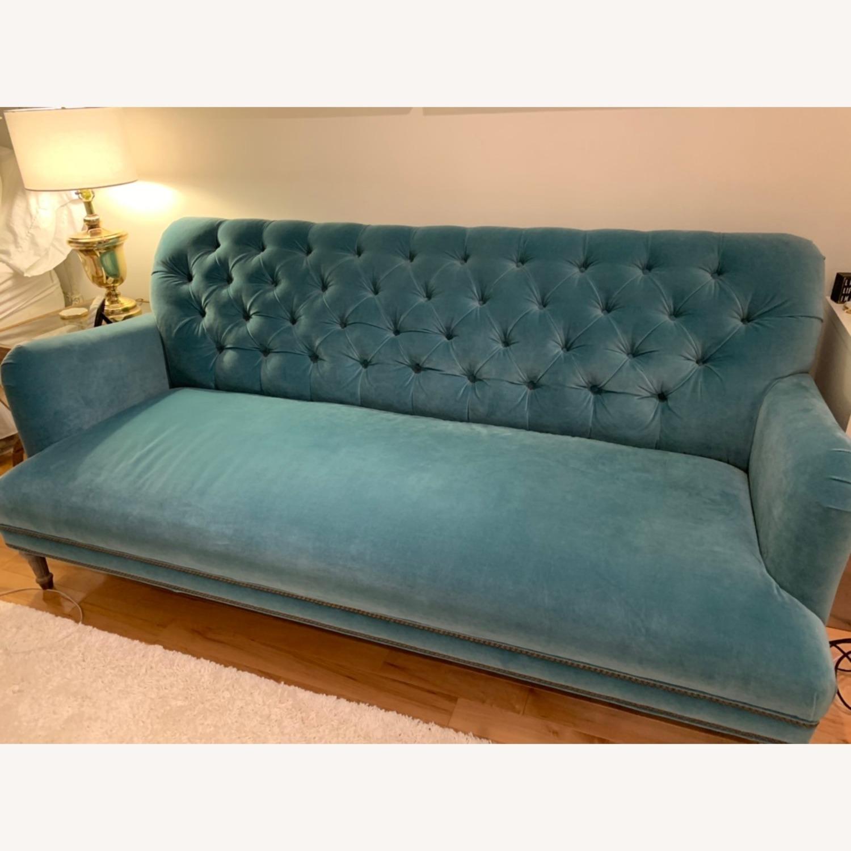 Anthropologie Light Blue Velvet Sofa