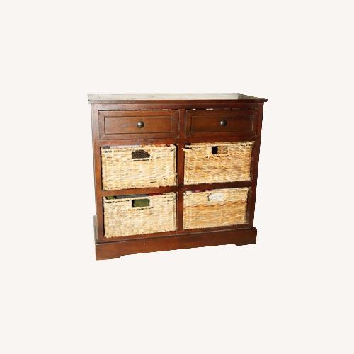 Used Functional Fine Art Small Wood Dresser w/ Baskets for sale on AptDeco
