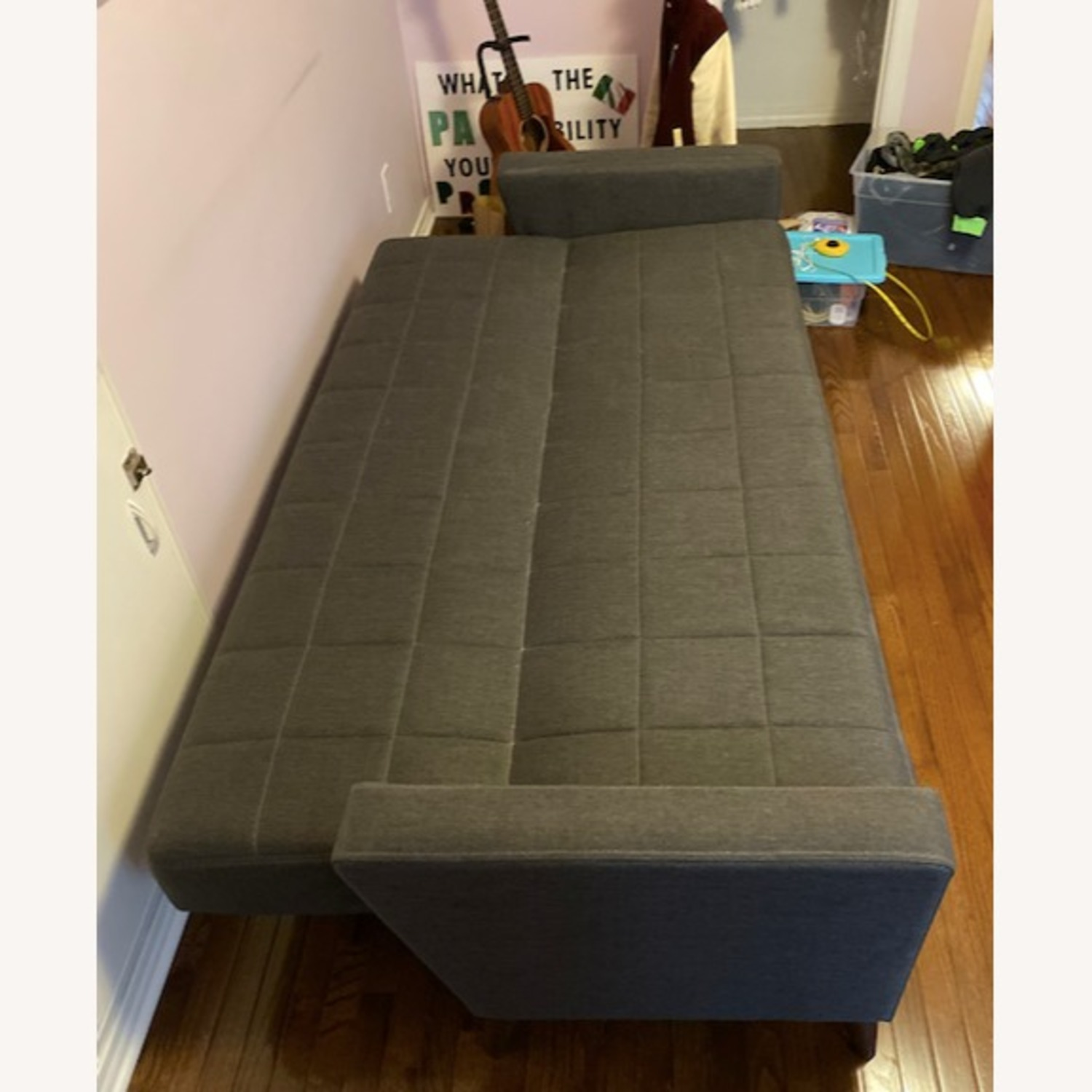 Mid Century Modern Gray Tufted Convertible Sofa Bed