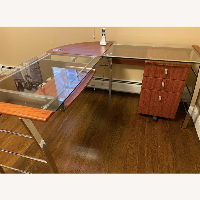 RealSpace Mezza Cherry Wood Chrome L-Shaped Desk w/ Cabinet