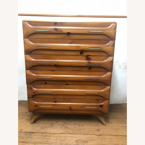 Used Franklin Shockey Mid Century Sculpted Pine Highboy Dresser for sale on AptDeco