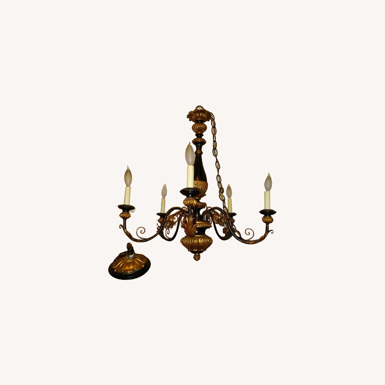 Antique Italian Five Light Polychrome Chandelier - image-11