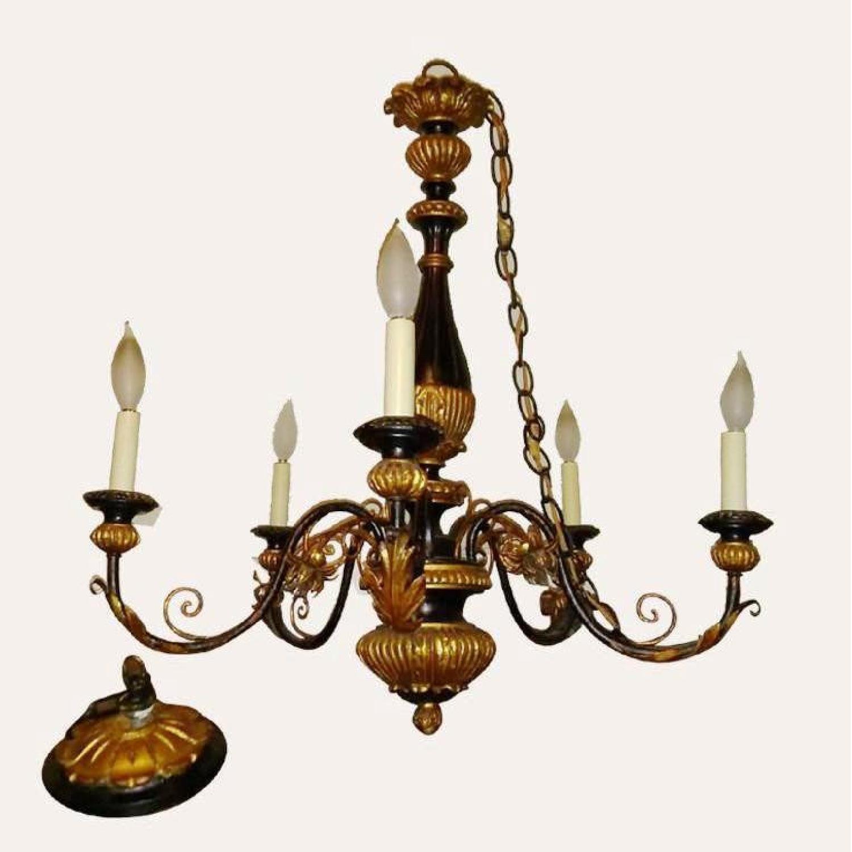 Antique Italian Five Light Polychrome Chandelier - image-0