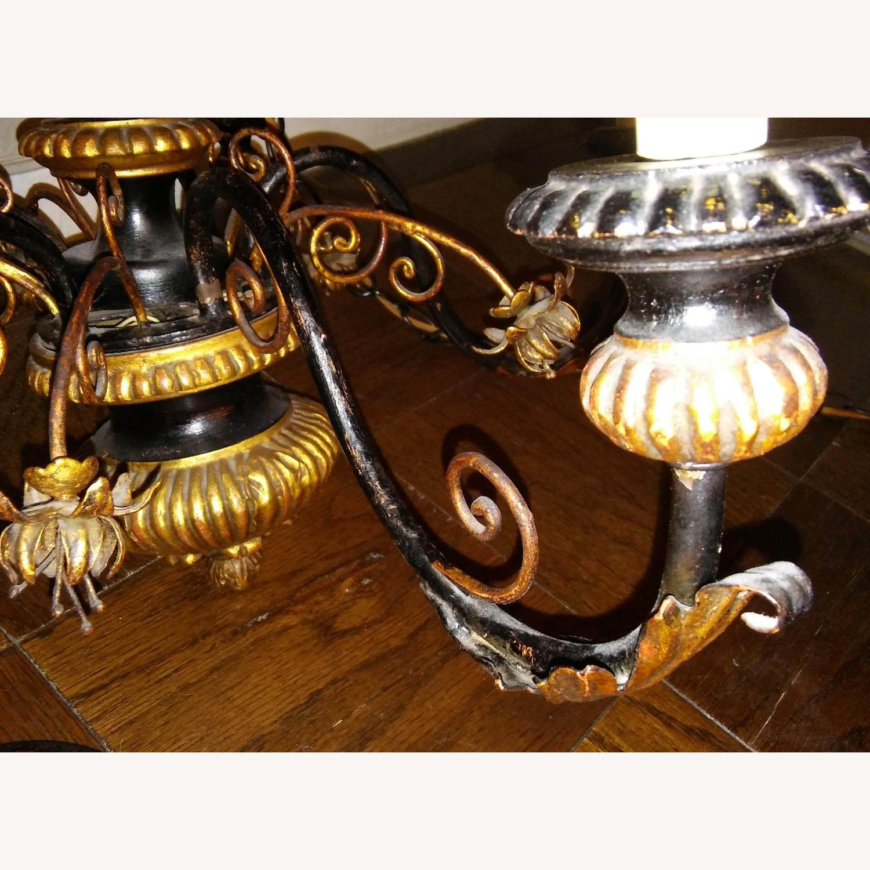 Antique Italian Five Light Polychrome Chandelier - image-4