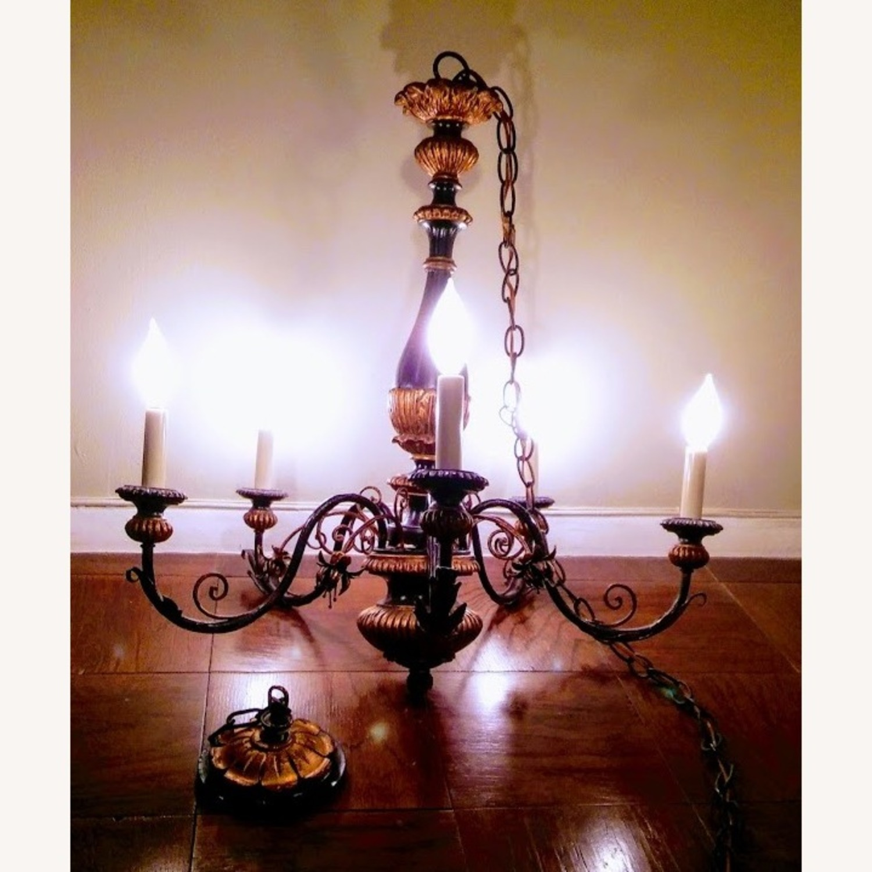 Antique Italian Five Light Polychrome Chandelier - image-2