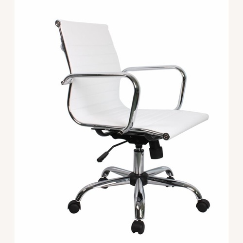 Orren Ellis White Leather Conference Chair