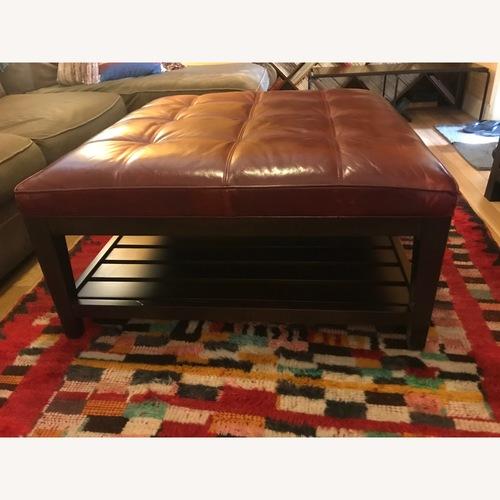 Crate & Barrel Leather Tufted Square Ottoman w/ Slats