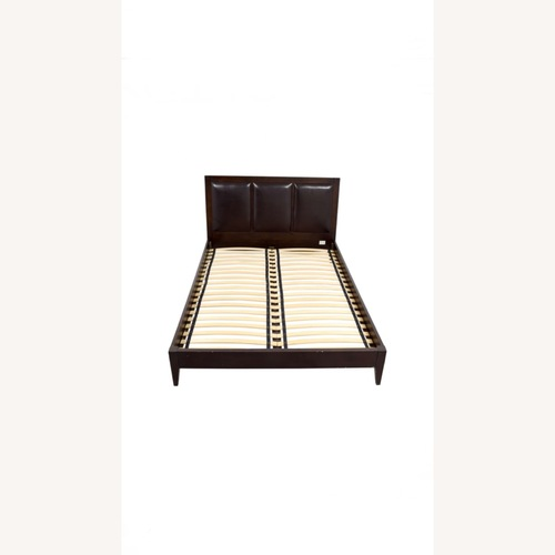 Crate & Barrel Wood & Leather Queen Size Brown Bed Frame