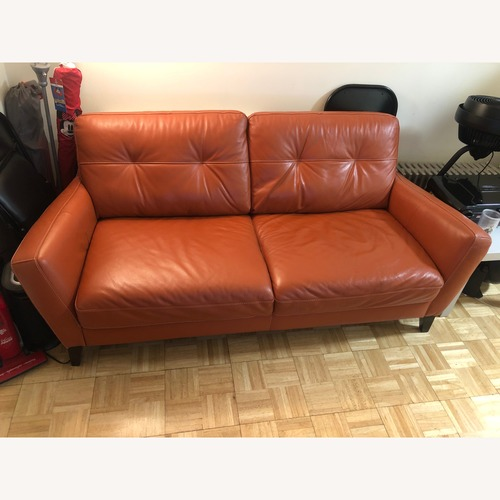 Natuzzi Italian Orange Leather Sofa