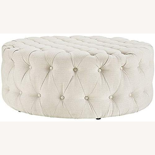 Modway Amour Fabric Upholstered Button-Tufted Round Ottoman