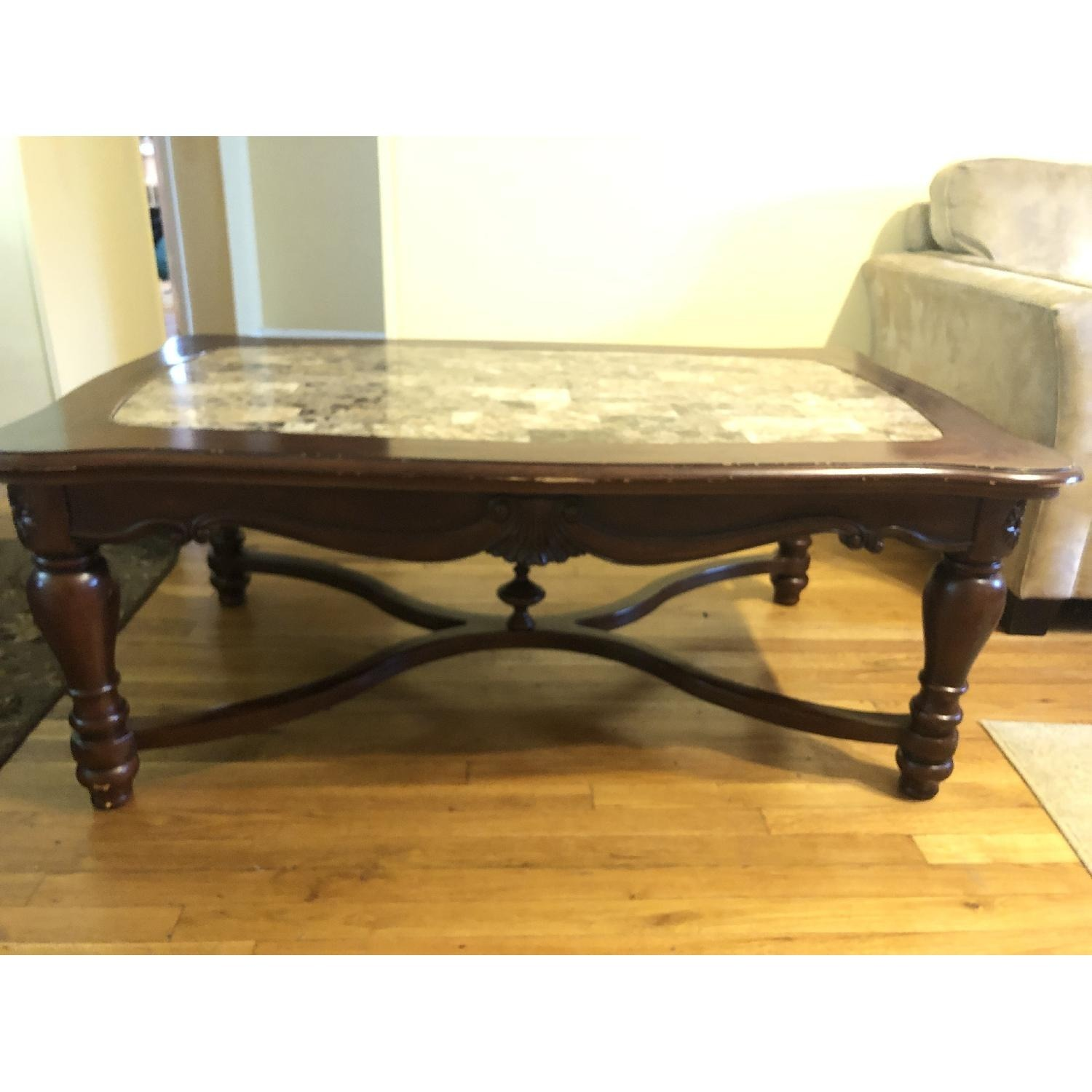 Ashley Wood & Marble Coffee Table + 1 End Table - image-2