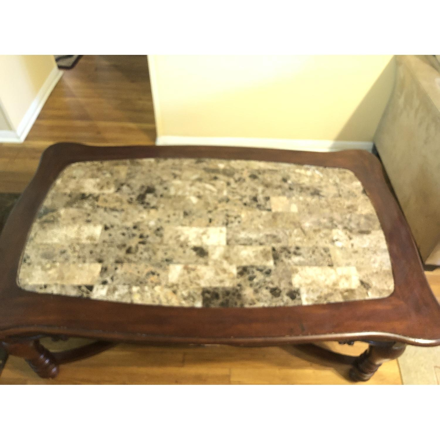 Ashley Wood & Marble Coffee Table + 1 End Table - image-1